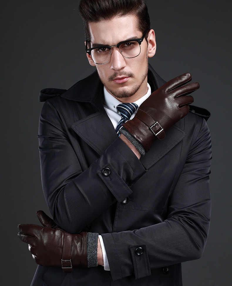 Novo couro inverno guantes quente luvas de pele carneiro dos homens luvas de couro simples evitar luvas frias para homens kwa559