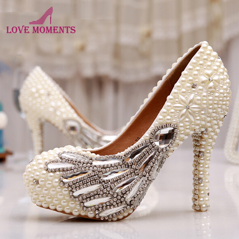 Ivory Pearls Unique Design Party Prom Rhinestone Decoration Bridal Wedding Shoes Round Toe Stiletto Women High Heels Women Shoes sweet girls pink rhinestone and ivory pearls diamond wedding high heels shoes graduation ceremony party pumps drop shipment