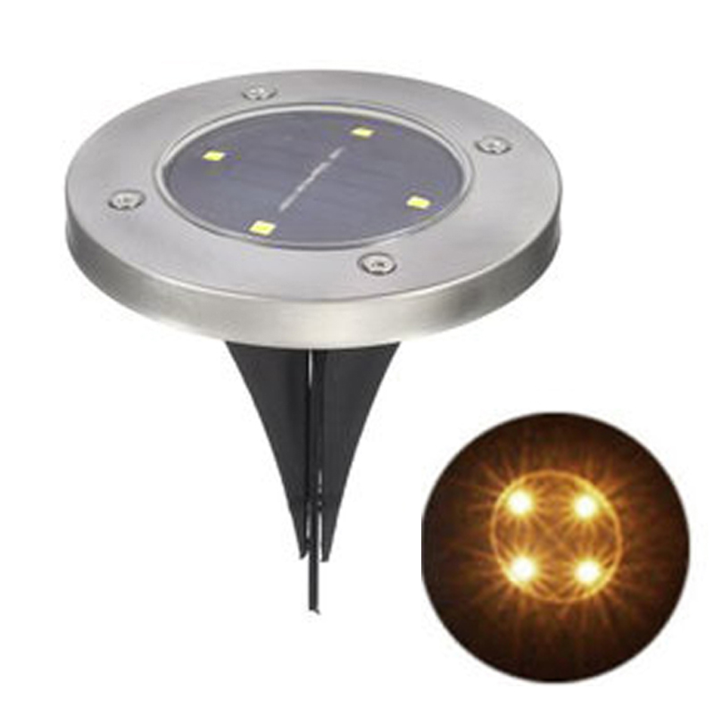 4 LED Solar Powered Ground Light Lamp Warm White/White Outdoor Garden Under Ground Lights Landscape Stair Night Lights