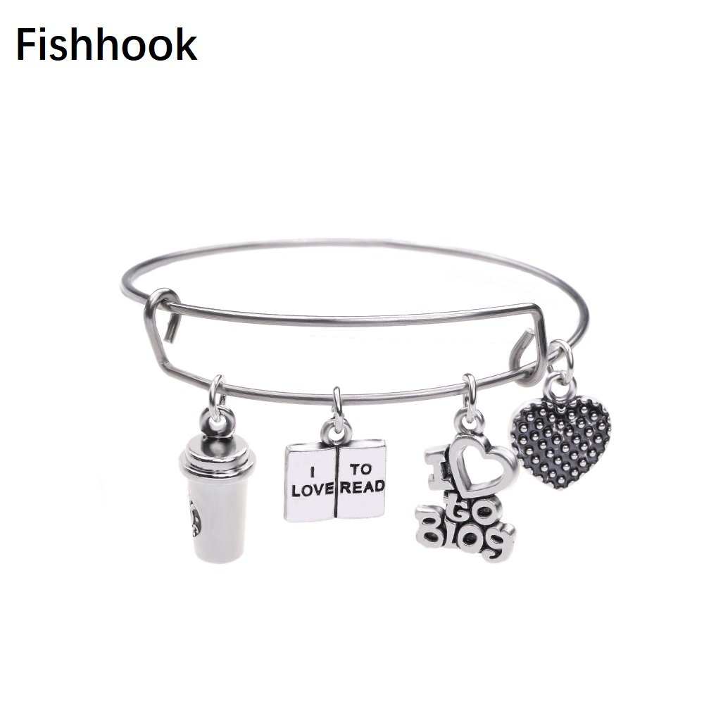 Fishhook DIY Special Scene Design Heart Shape I Love To Read Love Blog And Coffee Cup Charms Trendy Enjoy Reading Bracelet image