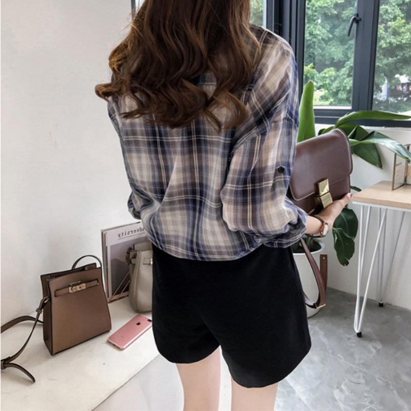 Yfashion Plaid Shirt Women Cotton Long Sleeve Cotton Casual Lady Chic Fashion Style Shirts Women Clothes Shirt in Blouses amp Shirts from Women 39 s Clothing