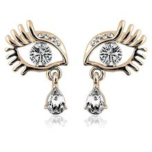 Womens Vogue Eyelash Rhinestone Earrings Party Jewelry Gold Silver Plated Shiny Zircon Crystal Eye Shape