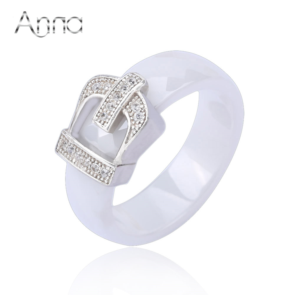 A N Crown Ceramic Rings For Women With Crystal Stone Engagement Jewelry Rings Love Designer Black