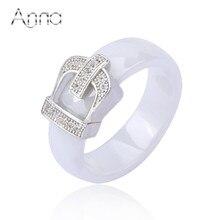 A & n de la corona anillos de cerámica para las mujeres con piedra de cristal anillos de compromiso joyería amor del diseñador negro blanco titanium mujeres de anillos