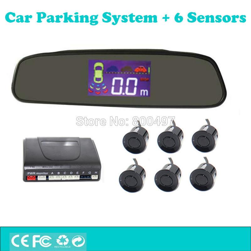 Auto Einparkhilfe mit 6 Parkplatz Sensoren Rückspiegel LCD Display Backup Reverse und Front Radar System Alarm Kit