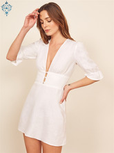 Ameision Slim Flare Sleeve women dresses v-neck Chic Center Buttons Waist party dress Holiday Cotton Summer Vintage vestido