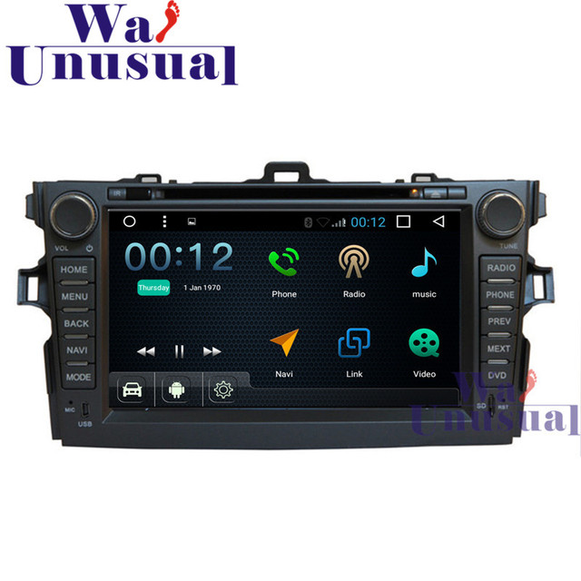 """WANUSUAL 8""""Android 6.0 Auto GPS Navigation For Toyota Corolla 2012 with Wifi BT Mirror link Quad Core 16G TV 3G 1024*600 Maps"""