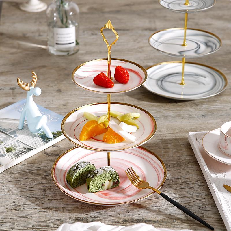 Camadas de Cerâmica Mármore com Guarnição Requintado Europeia Fruta Lanche Bandeja Casamento Sobremesa Pastelaria Placa Textura Ouro Armazenamento 3