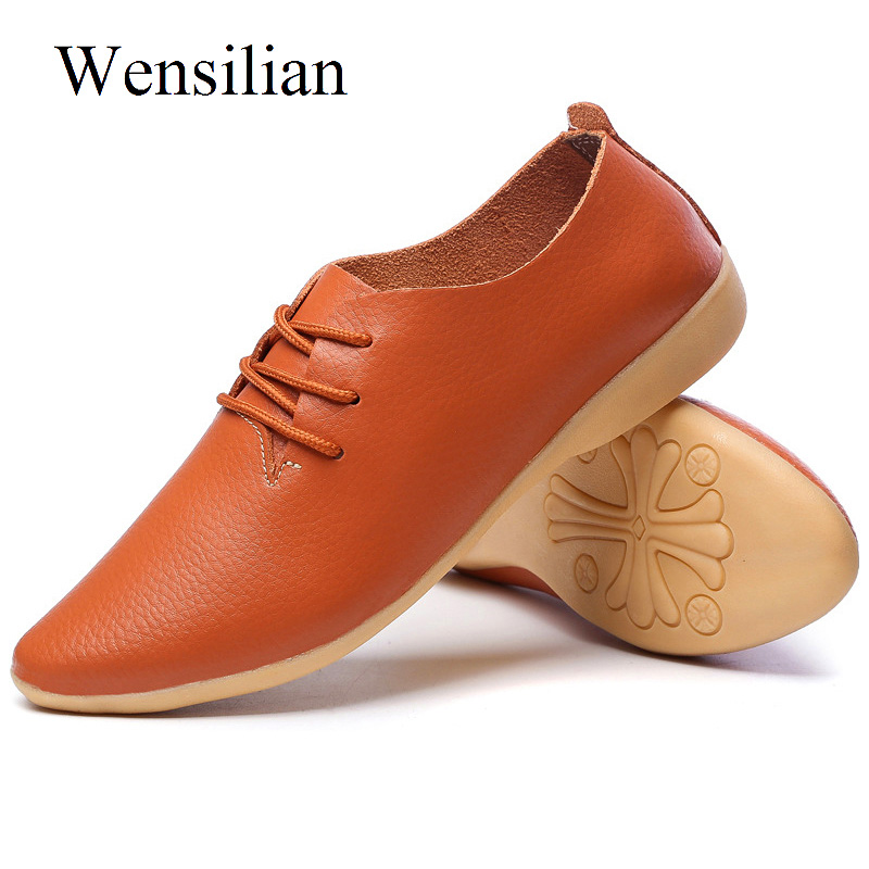 Summer Flat Shoes Women Moccasins Oxford Leather Shoes Women Lace-up Pointed Toe Flats Soft Bottom Slip On Loafers Zapatos Mujer(China)