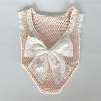 Newborn Photography Prop Lace Bow Baby Girl Romper Handmade Baby Girl Clothes Halter Baby Playsuit Baby