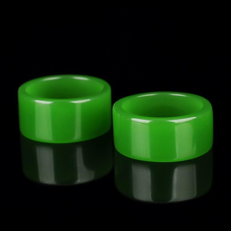 Бирманская старая яма изумрудная Зеленая кнопка относится к зеленому цветку голубое кольцо большой палец нефритовое кольцо 3001 - Цвет камня: Черный