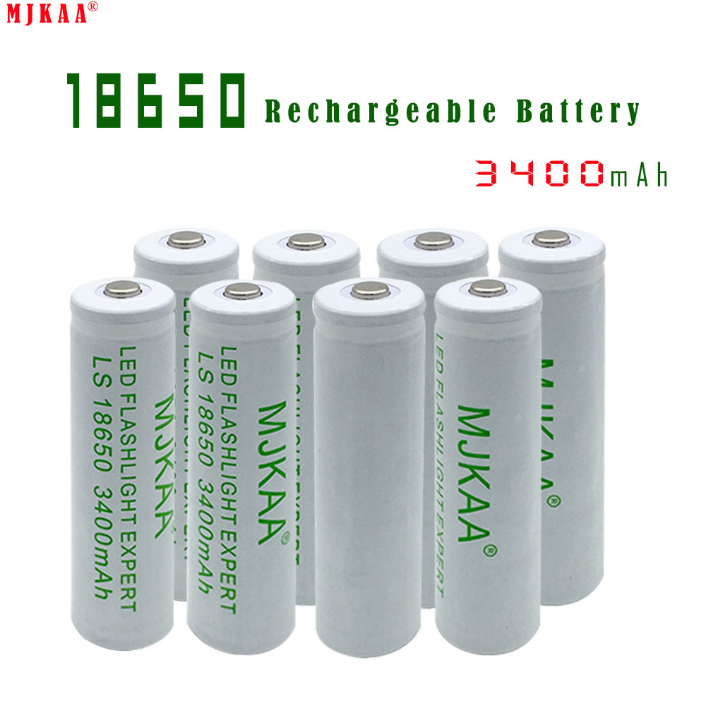 8pcs high capacity 18650 rechargeable battery 3400mah not aa aaa battery li ion bateria. Black Bedroom Furniture Sets. Home Design Ideas