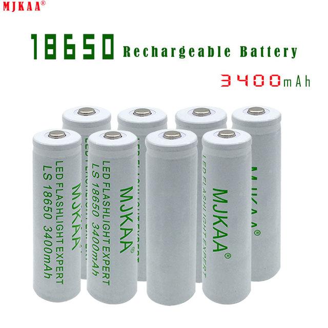 8pcs High Capacity 18650 Rechargeable Battery 3400mah (not AA/AAA Battery) 3.7v Li-ion Bateria for Flashlight  Headlamp