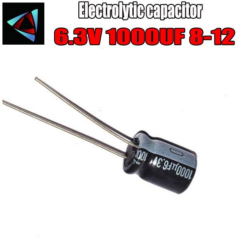 12PCS Higt Quality 6.3V 1000UF 8-12mm 1000UF 6.3V 8*12 Electrolytic Capacitor
