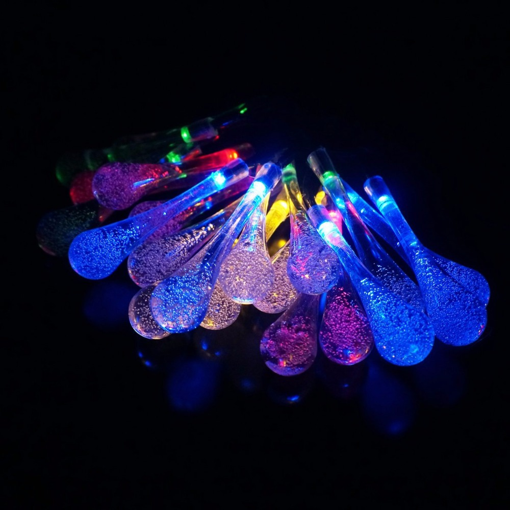 5m Solar Powered Water Drop String Lights Led Fairy Light