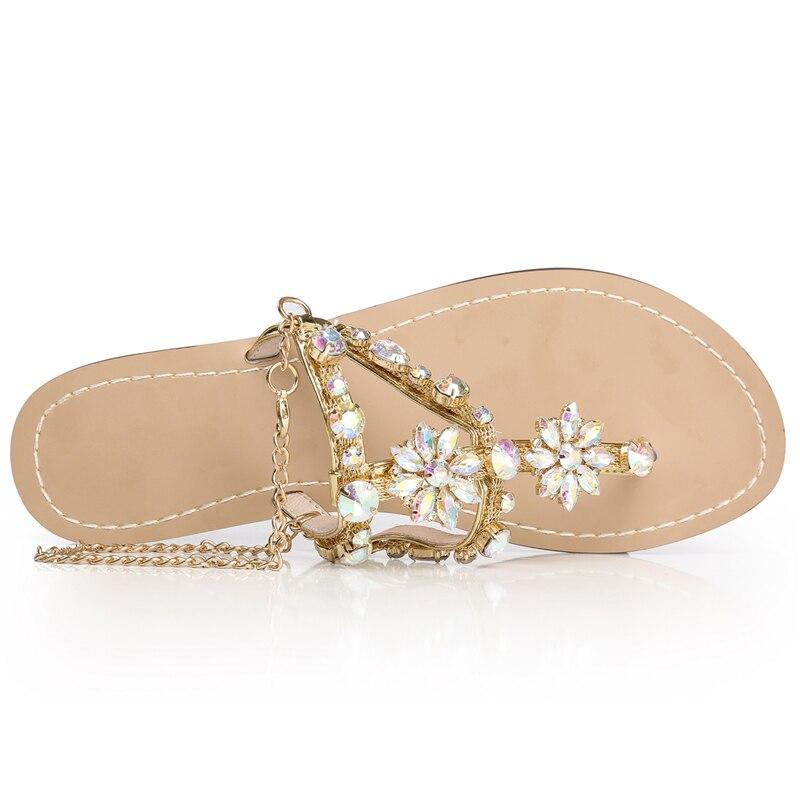Größe Frau 60 Ketten Tanga Sandalen Kristall Plus Flache Schöne Frauen Chaussure Beige Tenis Strass Schuhe Gladiator Feminino 7SnRdw