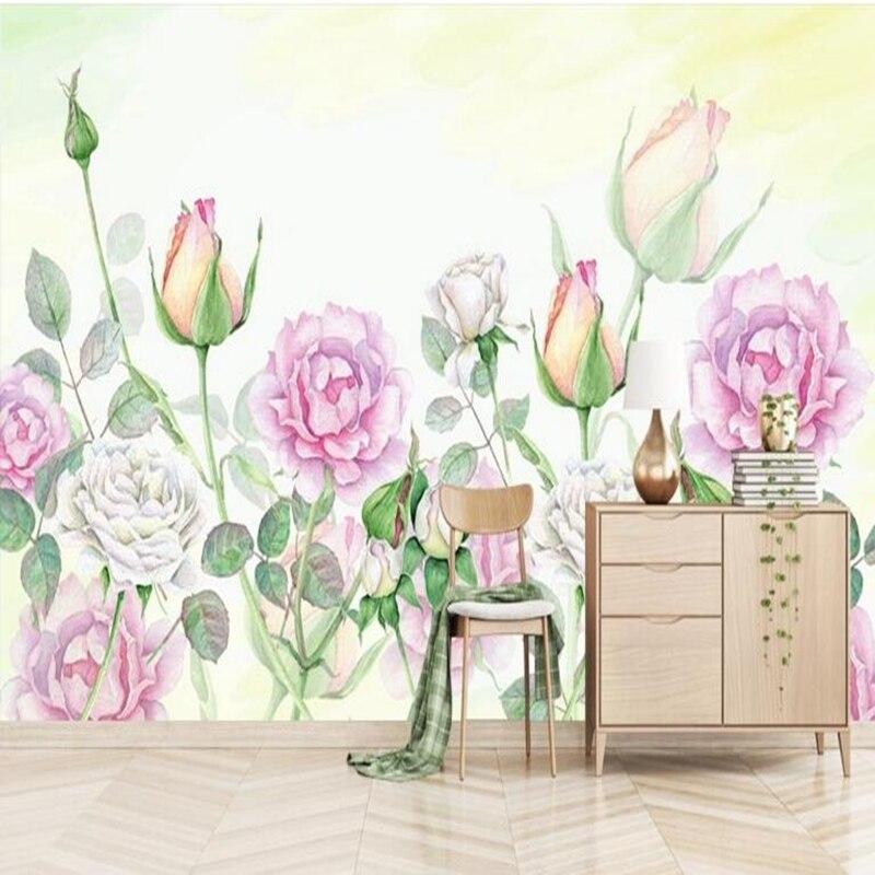 Custom Wallpaper for Walls 3 d Modern Minimalist Hand Painted Rose Peony 3d Wall Murals Free Wallpaper Living Room Desktop Wall