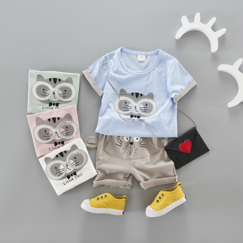 Summer Kids Clothes Sets For Girls Boys Cartoon Cute Tiger T Shirts + Shorts Children Clothing Sets Outwear 2018 Baby Suits