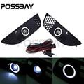POSSBAY Daytime Running Light Foglights LED Angle Eyes Ring For 2008-2012 Mitsubishi Lancer Car White LED Fog Light Lamps