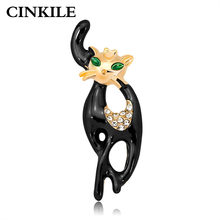 CINKILE Enamel Black Cat Brooches for Women Cute Vivid Kitty Pins Animal Jewelry Coat Accessories Autumn Badges New Arrival 2018(China)