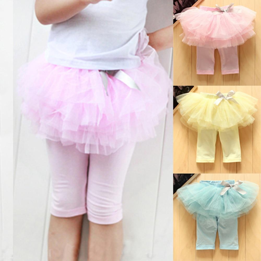 2017 Tulle Skirt Pants Kids Baby Girls Leggings Gauze Bow Tutu Princess Skirt