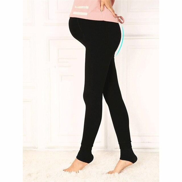 Polainas de Maternidad Pantalones Calientes de Espesamiento del terciopelo de Invierno Para Las Mujeres Embarazadas de Cintura Alta Pantalones Embarazo Ajustable