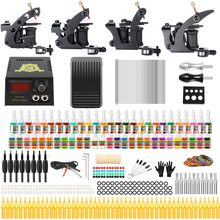 цены Solong Tattoo 2018 Professional Tattoo Complete Kits Sets 4 Guns Coil Machine for Liner and Shader 54 Inks Power Supply TK457