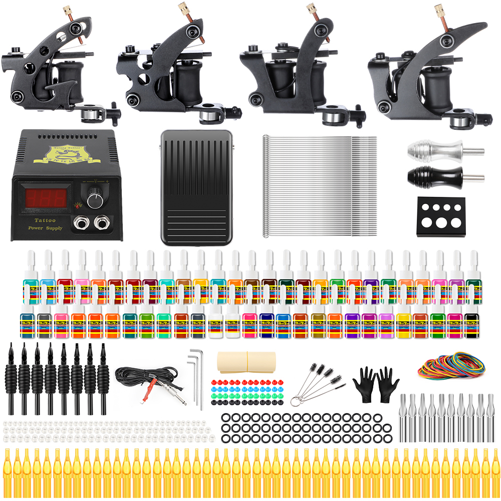Solong Tattoos Professional Tattoo Kits Complete Sets 4 Guns Coil Machine For Liner And Shader 54 Inks Power Supply TK457