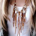 Bohemian Fringe Necklace Women Boho Vintage Dramatic Suede Long Velvet Tassel Chain Coin Charm Ethnic Necklace