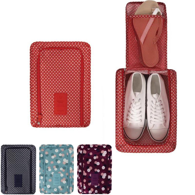 New Portable Waterproof Shoes Bag Travel Storage Pouch Pocket Packing Cubes Handle Nylon Zipper Organizer Shoe Bag Z30-1