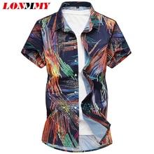 LONMMY 6XL 7XL Mens Hawaii Shirt For Summer Beach Leisure Fashion Floral Shirts mens 2018 New Casual Camisas Short Sleeve