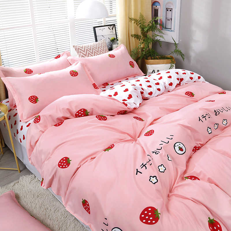 4pcs/set Bedding Set  Love Strawberry Pink Pattern Bed Linings Duvet Cover Bed Sheet Pillowcases Cover Set
