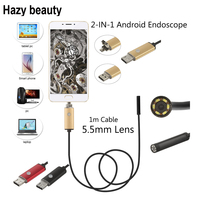 1M Micro USB Android Endoscope Camera 5 5mm Len Flexible Snake USB Pipe Portable Inspection Micro