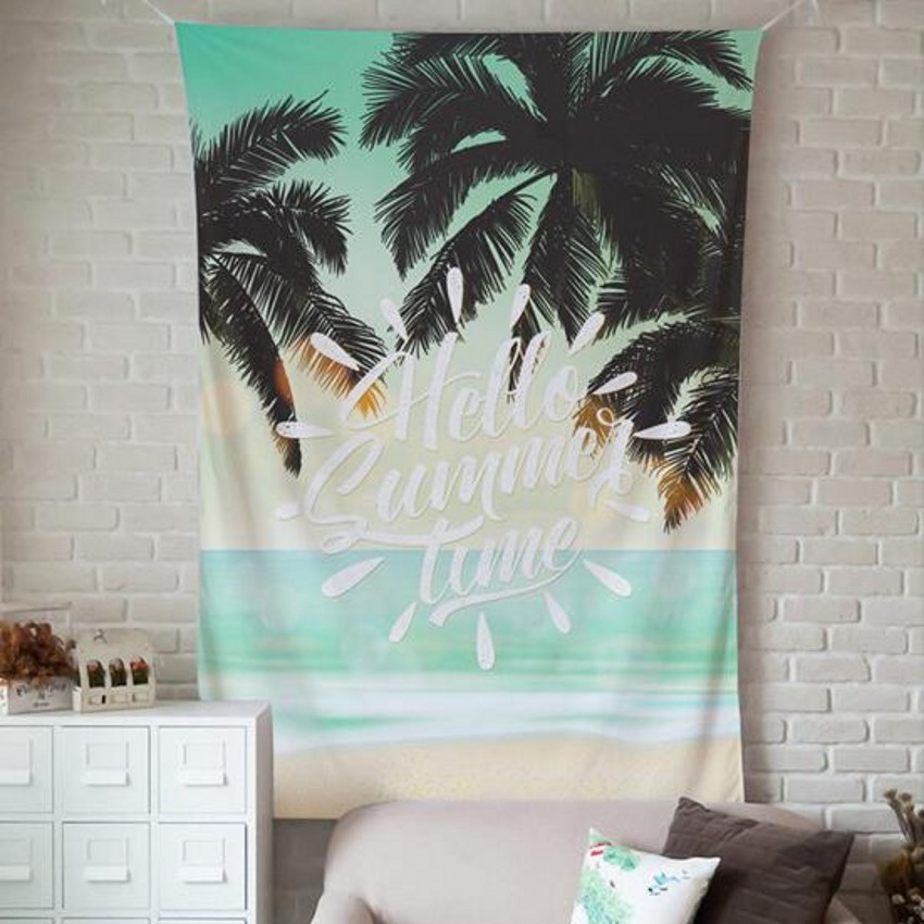 Summer time  coconut tree cloth tapestry,multi-function tapestry , cactus table cloth, wall cloth, wearable beach blanket
