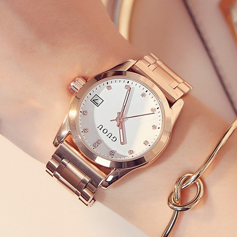 GUOU Fashion Ladies Watch Women's Watches Bracelet Rose Gold Watches For Women Watches Calendar Clock Diamond montre femme saat