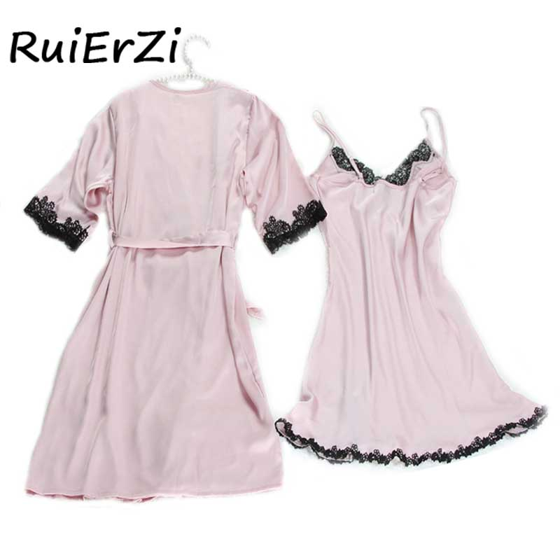 2018 New Fashion Summer V-neck Lace Patchwork Silk Robe & Gowns Set Comfortable Slash Sleepwear + Bathing 2Piece Sexy Robe