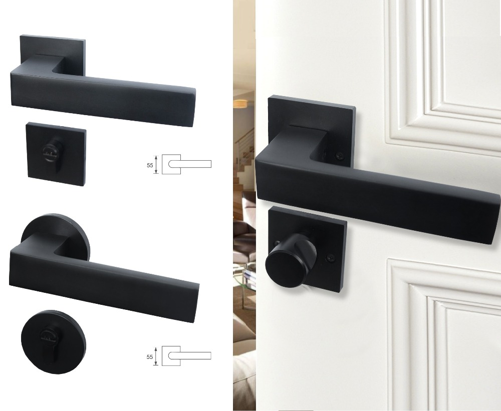 Premintehdw Round Square Matt Black Mortise Interior Door Rosette Lock Set Thumb turn (35-50mm thick door)