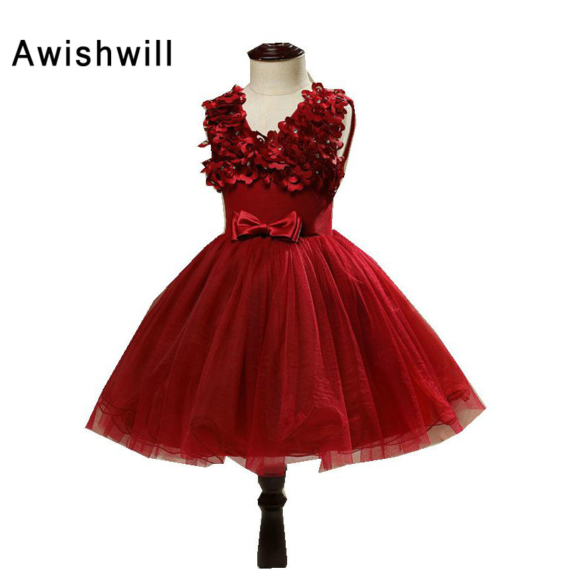 V-izrez Lijepa vino crvena boja cvijet djevojka haljine s luk lopta - Vjenčanje večernje haljine - Foto 6