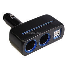 Dual Cigarette Lighter Sockets Adapter Quick Car Charger 80W 3 1A 2 USB Interface For iPhone