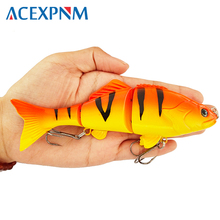 Fishing Bass Lure Multi Jointed Artificial Bait Segment Lifelike Trout Swimbait Hard Crankbait Treble Hooks Hard Fishing Lures lifelike fish style fishing bait w treble hooks green golden