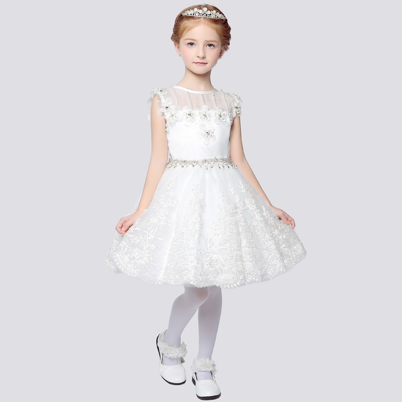 New Flower Girl Dresses Princess Communion Party Pageant Dress with Flowers Appliques Little Girls Kids/Child Birthday Dress