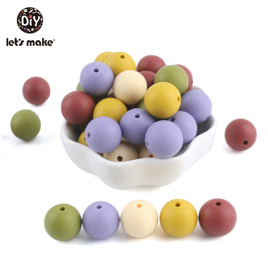 Silicone Beads Round Candy Color 500PC Baby Teether 12mm Accessories Infant Necklace Pendant DIY Nursing Bracelet Kids Beads