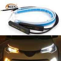 OKEEN 2x coches ultrafinos DRL LED luces de circulación diurna blanco señal de giro amarillo tira de guía para el montaje del faro Envío Directo