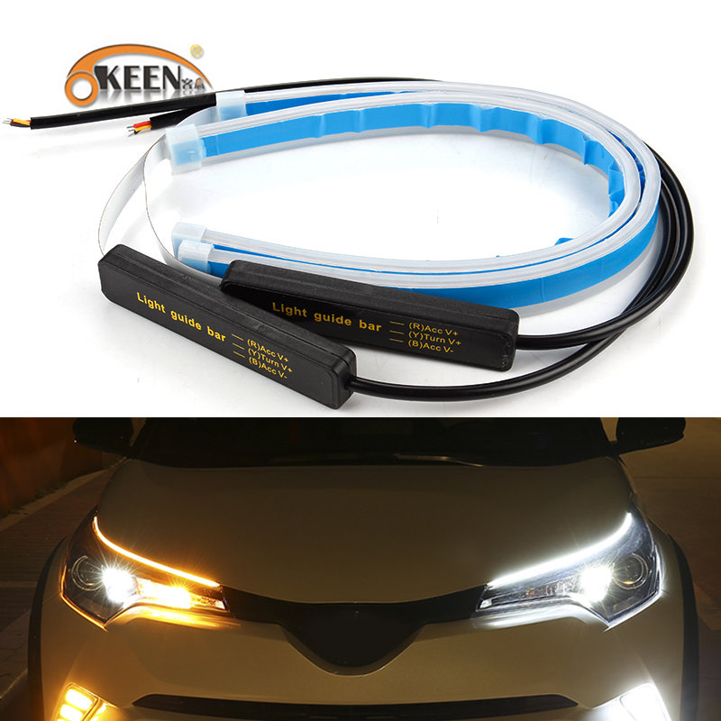 OKEEN 2x Ultrafine Cars DRL LED Daytime Running Lights White Turn Signal Yellow Guide Strip for Headlight Assembly Drop Shipping Проектор
