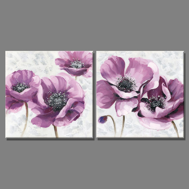 2 piece beautiful purple flowers pictures oil painting on the wall canvas art paintings home decoracion