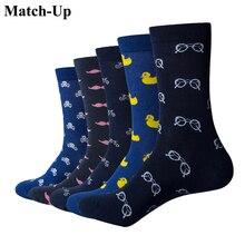 マッチアップ男性漫画の綿の靴下アート柄物カジュアルクルーソックス 5 パック靴のサイズ 6 12