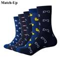5 шт./упаковка, мужские хлопковые носки с рисунком, повседневные носки с круглым вырезом, Размеры 6-12