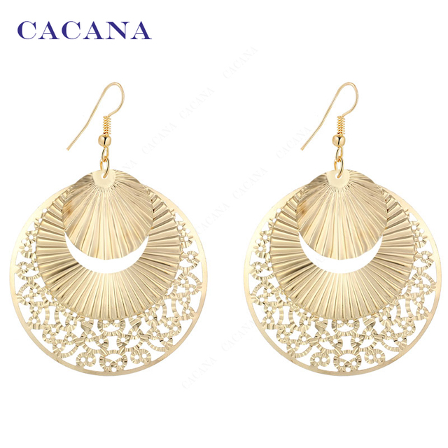 CACANA Dangle Long Earrings For Women Sector Shape Round Lovely Bijouterie Hot S
