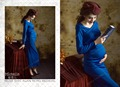 Fashion Elastic V-neck Maternity Trailing Dress Photo Shoot Baby Shower Gift Studio Clothing Blue Pregnant Photography Props