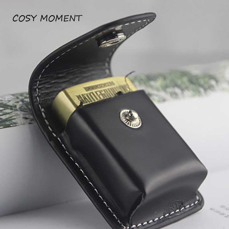 COSY MOMENT Black Leather Lighter Case Kerosene Lighter Cover Holder Bag Portable Cigarette Lighter Holster Men Gift YJ443
